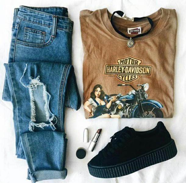 pants shirt ripped jeans blue tumblr shirt
