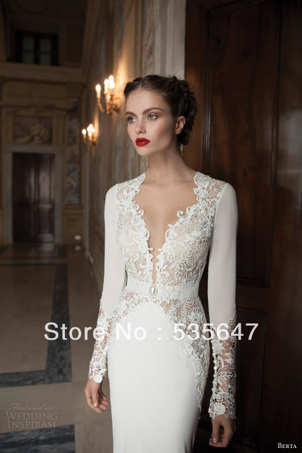 2014 Long Sleeves Mermaid Wedding Dresses Plunging Neckline Hollow Back Chiffon Lace Applique with Sash Court Train Sexy  BO11-in Wedding Dresses from Apparel & Accessories on Aliexpress.com