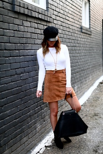 skirt suede mini skirt mini skirt long sleeves t-shirt boy hat booties blogger blogger style tote bag