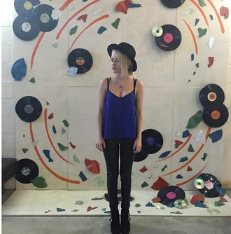 tank top beatrice miller singer celebrity blue black pants hat
