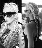 hair accessory,hair,hair bow,hairstyles,braid,box braids,sunglasses,retro sunglasses,blonde hair,jewels,earrings,jelena karleusa