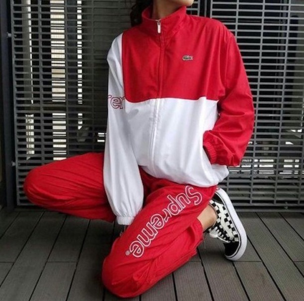 jacket red and white sweater reddand white sweatpants red sweater red sweatpants surpreme vans