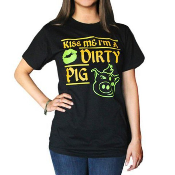 shirt shop dirty pig dirty pig outfit style st. patrick's day green yellow black shirt short sleeve janoskians