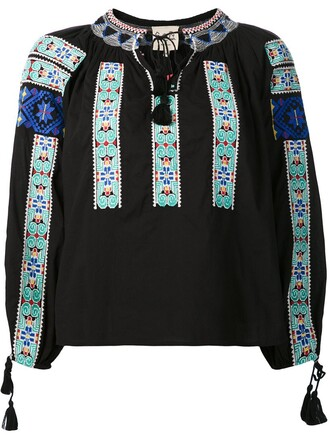 top peasant top embroidered women cotton black