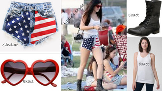 shorts high waisted shorts american flag kylie jenner kardashians keeping up with the kardashians sunglasses combat boots shirt