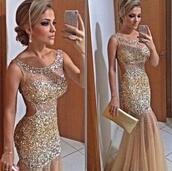 dress,girls occasion,scoop neck,hot sale,gold sequins,mermaid prom dress,backless dress,2016 new arrival prom dress,vestido de noiva