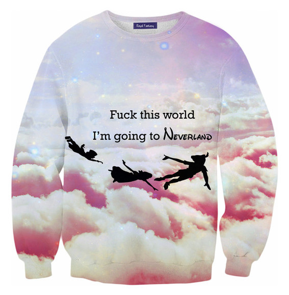 clothes blouse swag hipster yolo disney black peter pan peter-pan neverland fuckit galaxy galaxy shirt pink disney clothes disney sweater disney punk funny sweaters