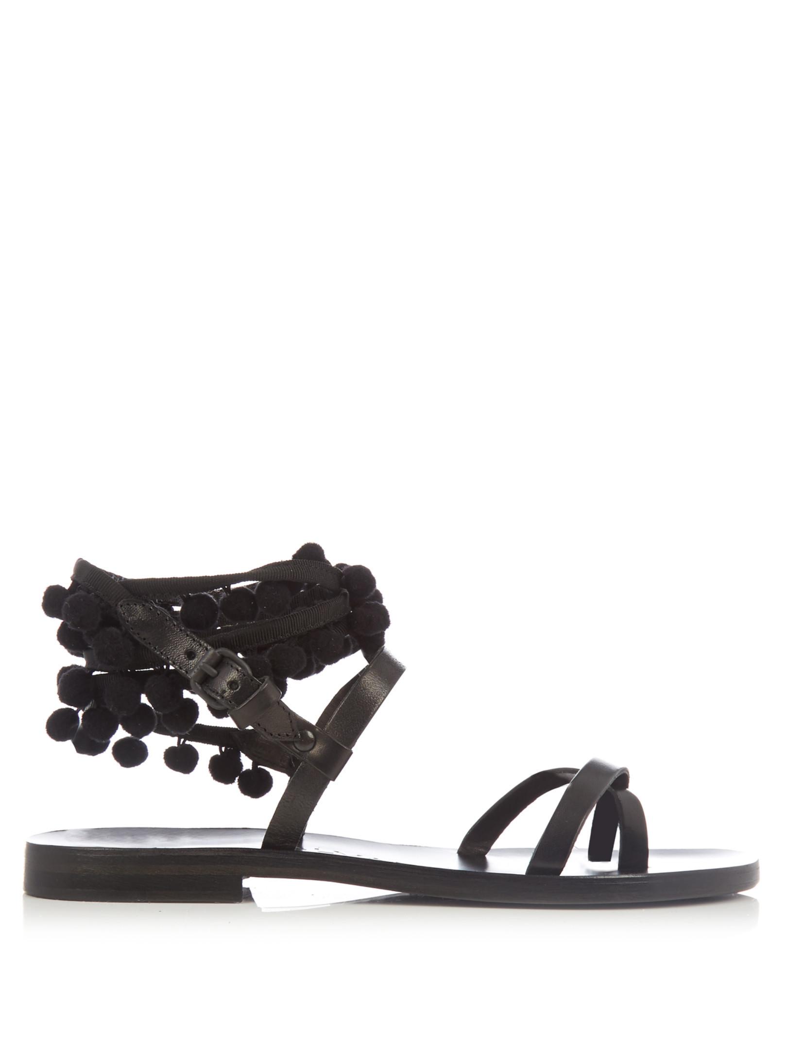 Anna pompom-embellished leather sandals