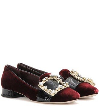 embellished slippers velvet red shoes