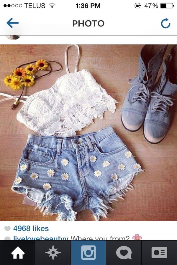 shorts daisy High waisted shorts cute bralette hat blouse shoes