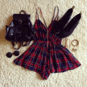 plaid red,spegehtti strap,plaid,fall outfits,dress,bag,jumpsuit,tartan,tatted boots black,romper,red,tumblr,checkered,coachella,combishort,shoes