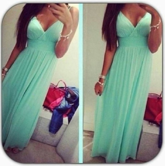 dress mint green dress green blue promdress prom dress long elegant