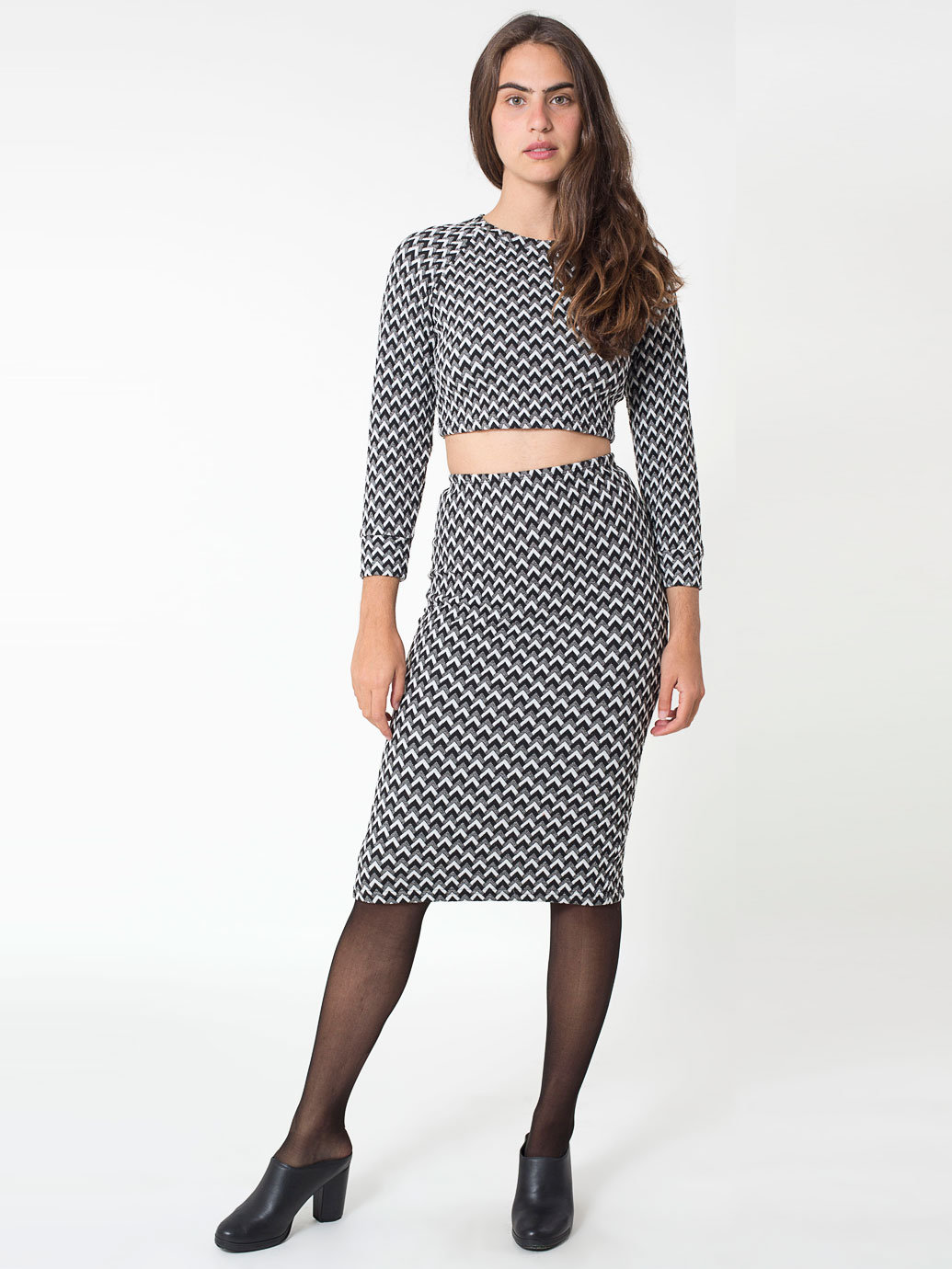 Jacquard Mid-Length Pencil Skirt | American Apparel