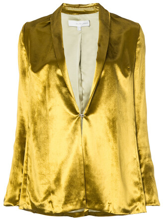 blazer women spandex fit silk yellow orange jacket