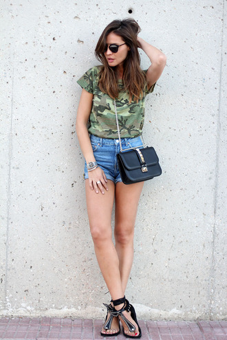 lady addict t-shirt shoes bag sunglasses military style camouflage summer outfits blogger denim denim shorts high waisted shorts clutch sandals shorts