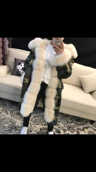 jacket parka fur camouflage faux fur winter outfits luxury fashion warm fur lined streetstyle