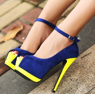 shoes yellow blue shoes colorful high heels style fashion