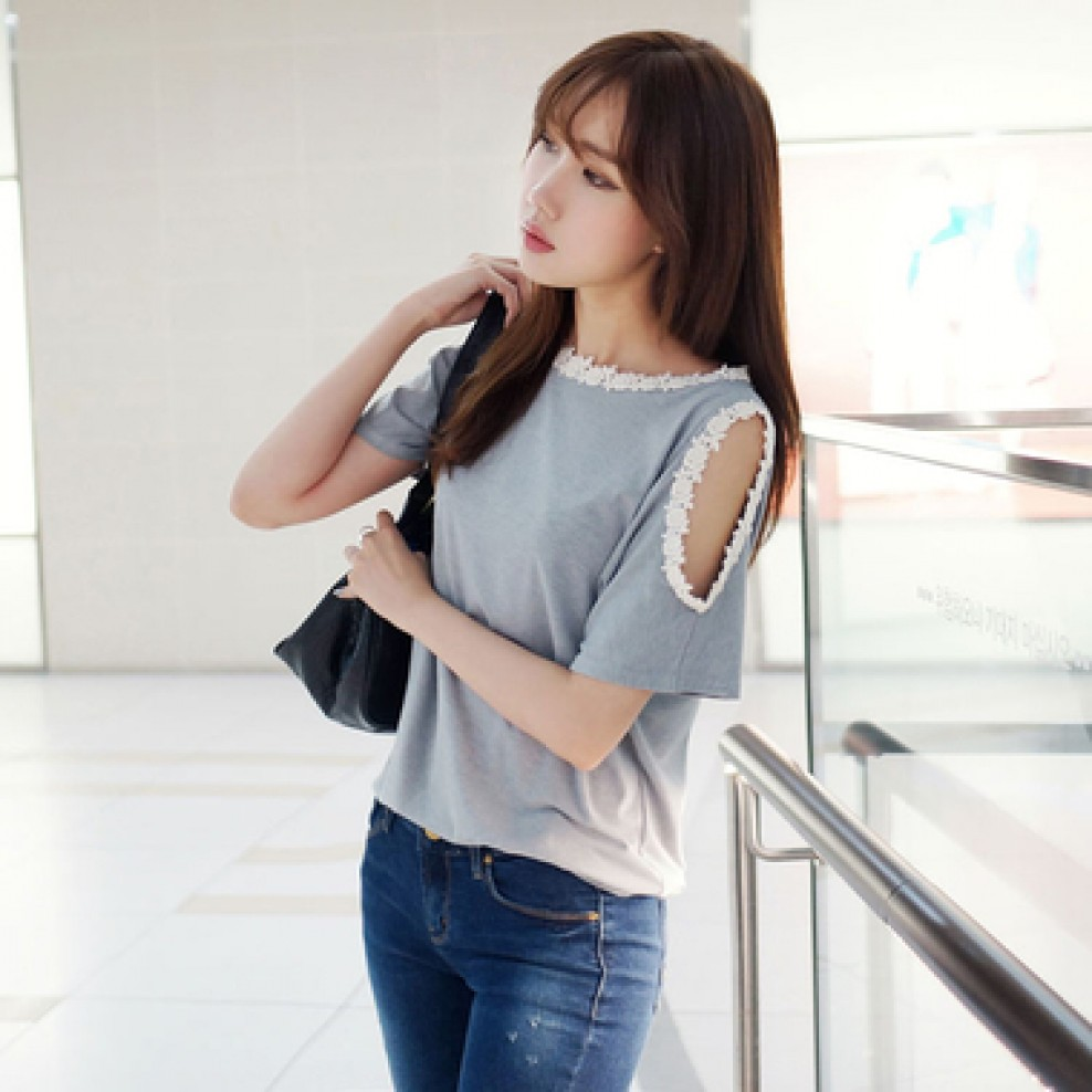 Floral Lace Shoulder Tee