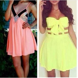 dress orange dress shimmer cute black stripe yellow summer dress yellow dress bow cuteeee strapless dress