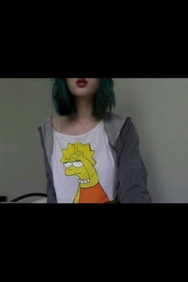 lisa t-shirt simpsons tumblr cool grunge soft grunge bart funny top summer outfits