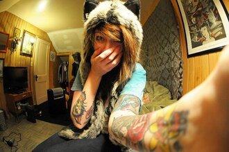 hat wolf fourrure