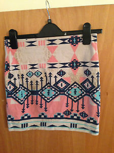 Bershka Ladies Astek Print Skirt Size Medium | eBay
