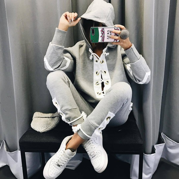 jumpsuit suit womens suit straps hoodie grey sweater grey sweatpants grey hoodie spring outfits street goth