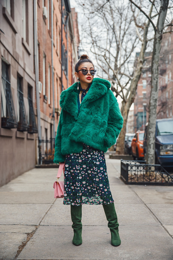 not jess fashion blogger coat skirt shoes bag sunglasses winter outfits fur coat boots green boots pink bag