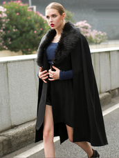coat,batwing,cloak,cloak coat,Black cape,cape coat,batwing cape coat,cape jacket,swag,amazon,cape fur collar,black cape coat,real fur,black fur collar,cloak cape,cloak coat long,cape,black,jacket