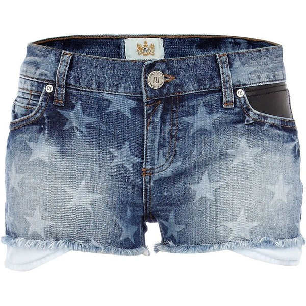 River Island Mid wash star print frayed denim shorts - Polyvore