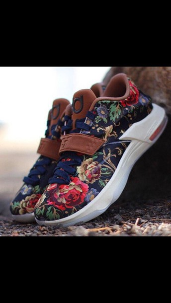 shoes kds kd shoes floral shoes low top sneakers floral sneakers