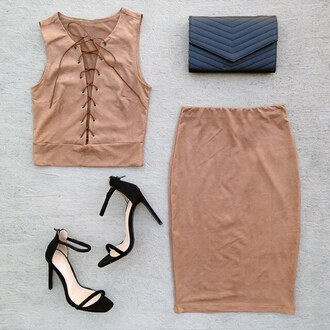 skirt coachella festival ootd matching set crop tops lace up suede gojane camel suede skirt