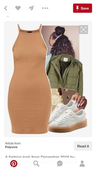 dress tan bodycon dress