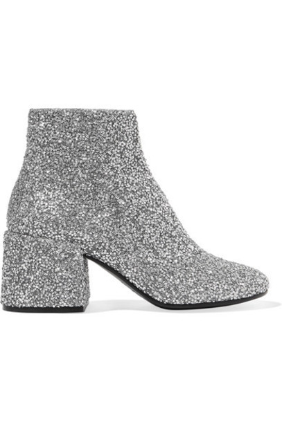 Mm6 Maison Margiela leather ankle boots embellished ankle boots silver leather shoes