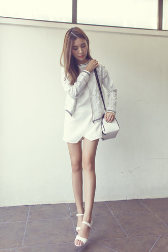 tricia gosingtian blogger romper jacket college white jacket white romper white bag all white everything