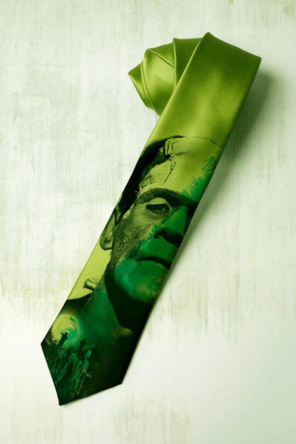 scarf tie green creepy monster goth punk frankenstein halloween