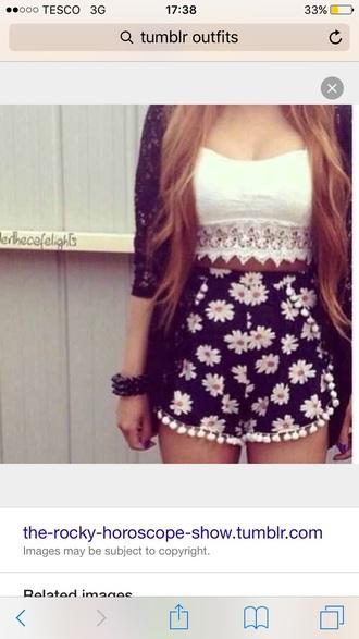 shorts skorts floral daisy