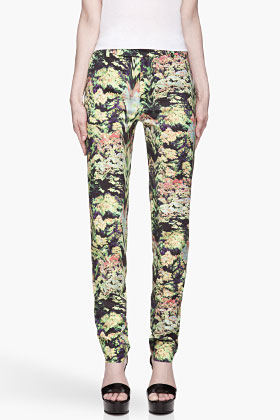 Green smudged floral pattern Formal Trousers - £397.00 :