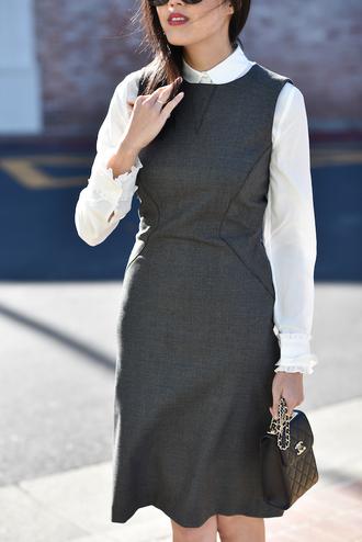 dress tumblr work outfits office outfits grey dress midi dress bag mini bag black bag chanel chanel bag shirt white shirt sleeveless sleeveless dress
