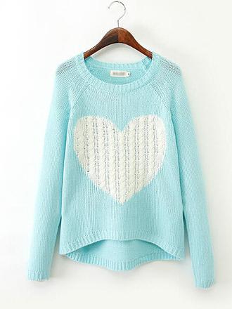 heart sweater blue sky blue mint