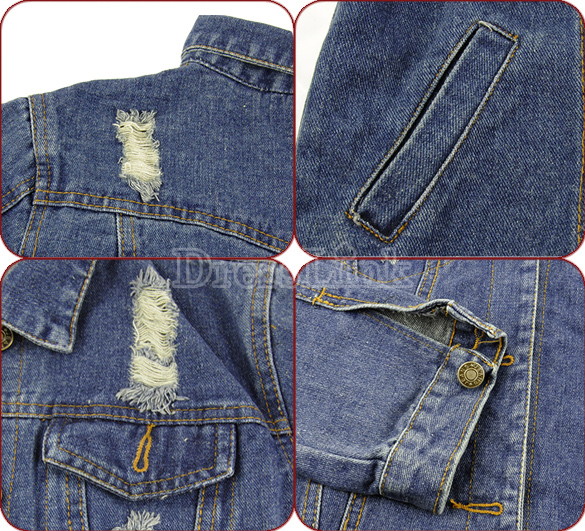 Korean Women's Ladies Fashion Clothes Long Sleeve Frayed Jeans Tops Jacket Denim Coat