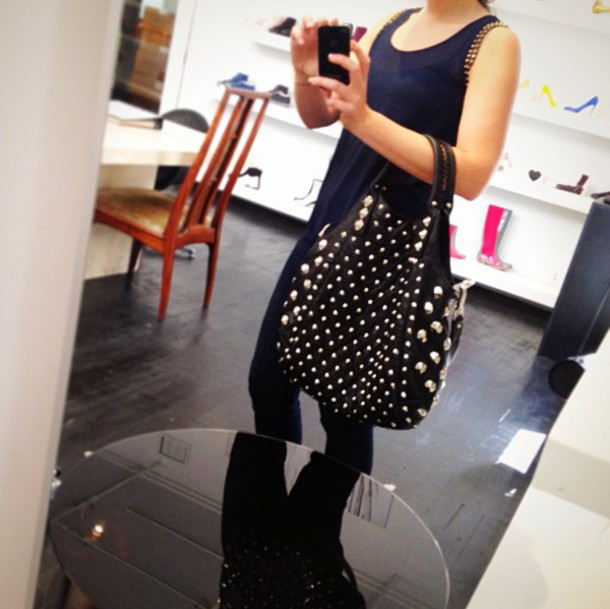 Bag: handbag, purse, garbo, tote bag, studs, black, studded, dope ...