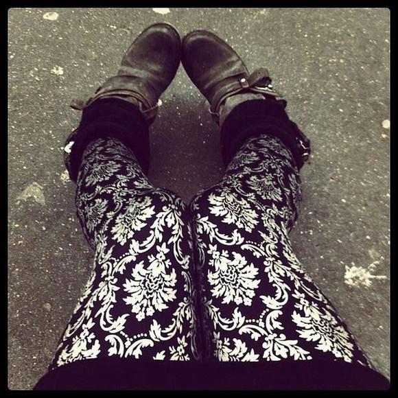 leggings black and white leggings patterned leggings pants cute white accents black and white