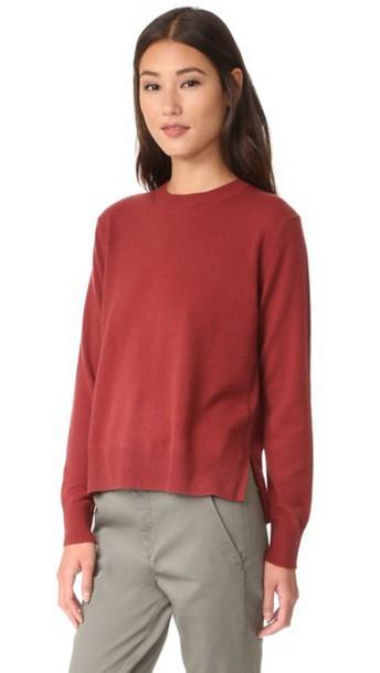 Vince Uneven Hem Cashmere Sweater - Claret