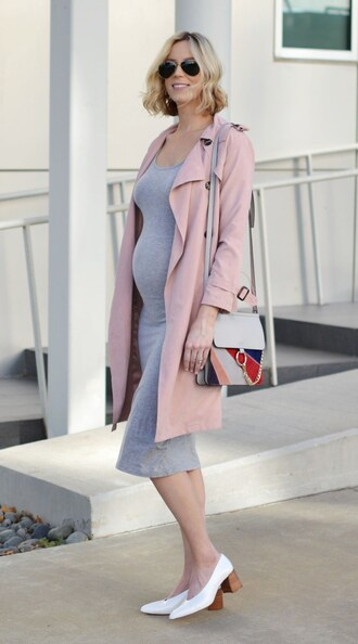 straight a style blogger shoes bag dress grey dress pink jacket waterfall coat light pink shoulder bag maternity maternity dress white heels aviator sunglasses stacked wood heels