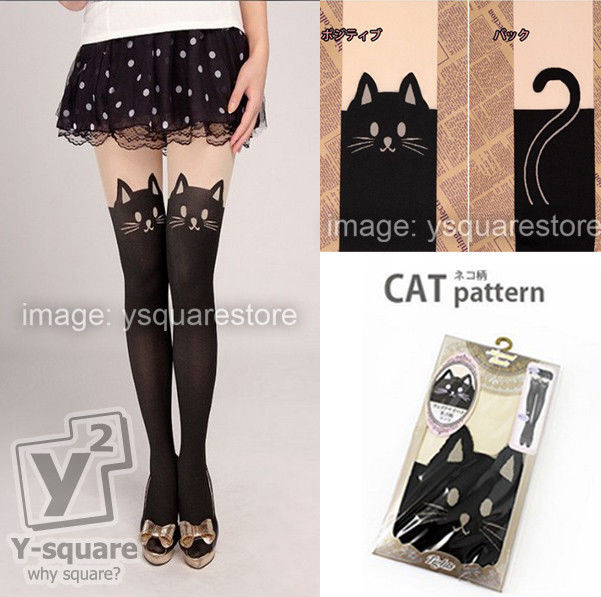 Japan Kitten Print Knee High Length Mock Cat Tail Women Tattoo Tights Pantyhose | eBay