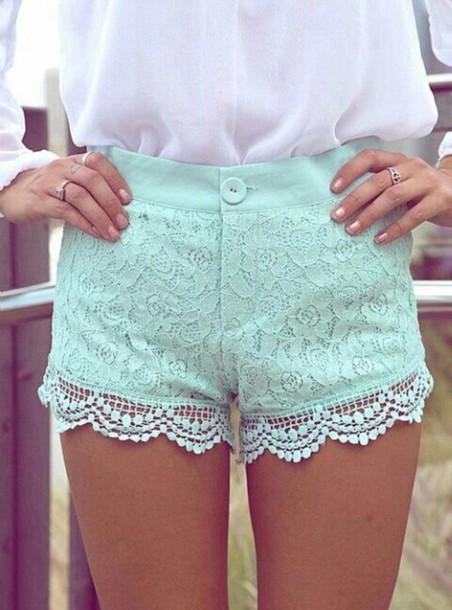 shorts mint shorts lace shorts