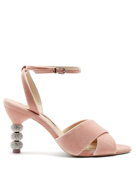 Sophia Webster heel velvet sandals embellished sandals velvet light pink light pink shoes