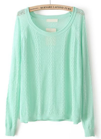 Latest Fashion Lady New Knitwear Mint Green Long Sleeve Hollow Out ...