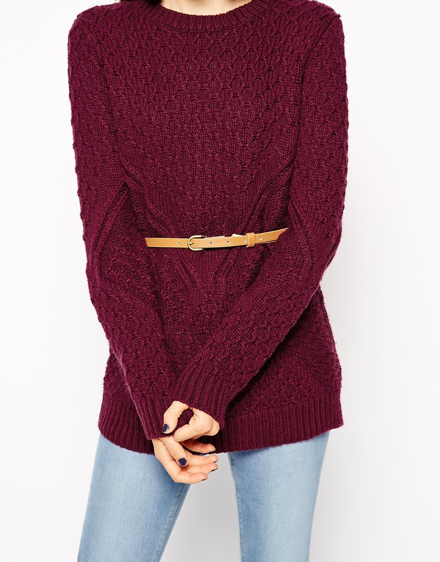 ASOS Jumper In Cable Knit With Belt at asos.com